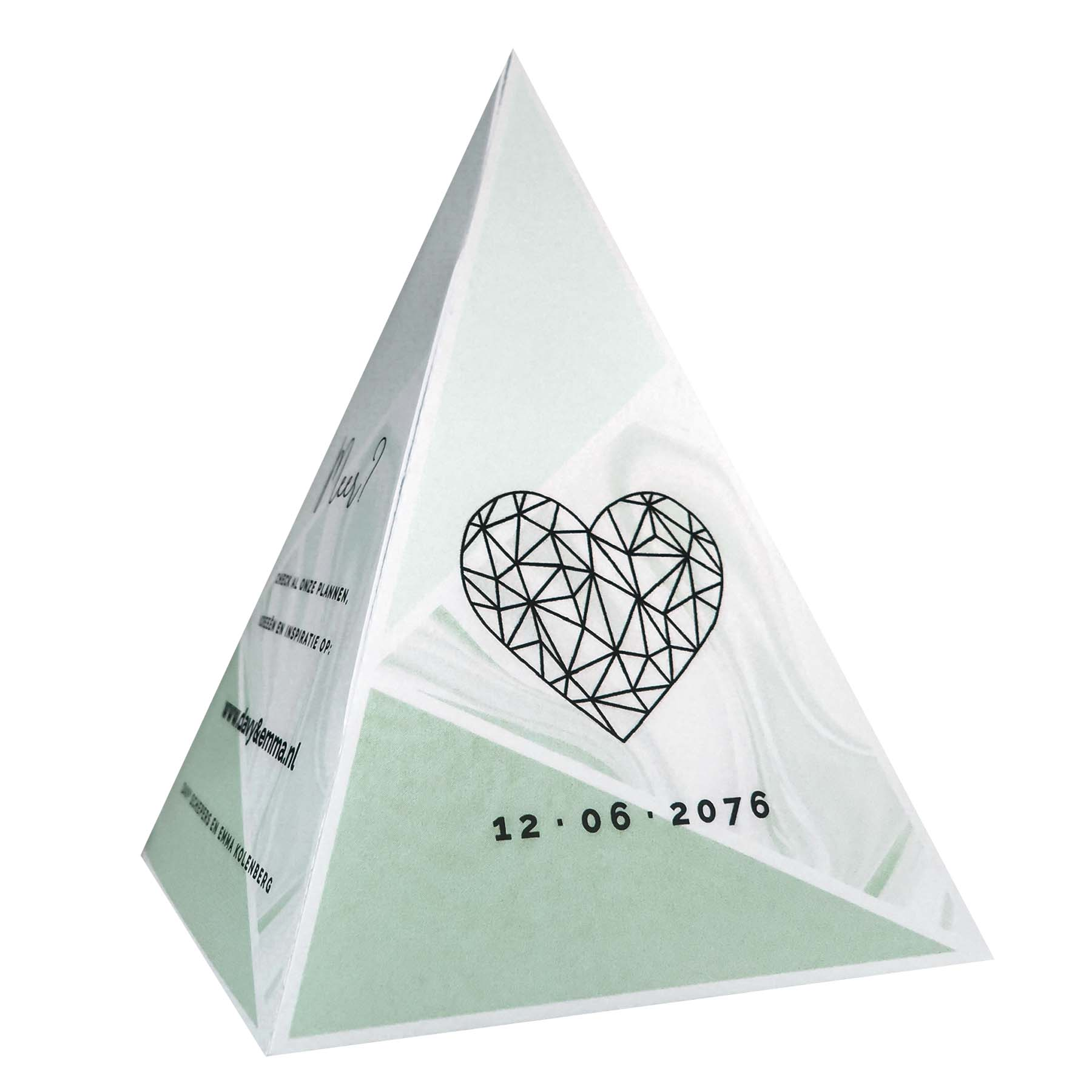 Tipi save-the-date kaart mint marmer