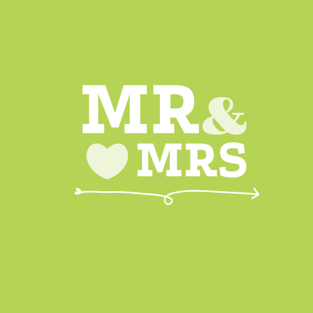 Limegroene trouwkaart Mr & Mrs