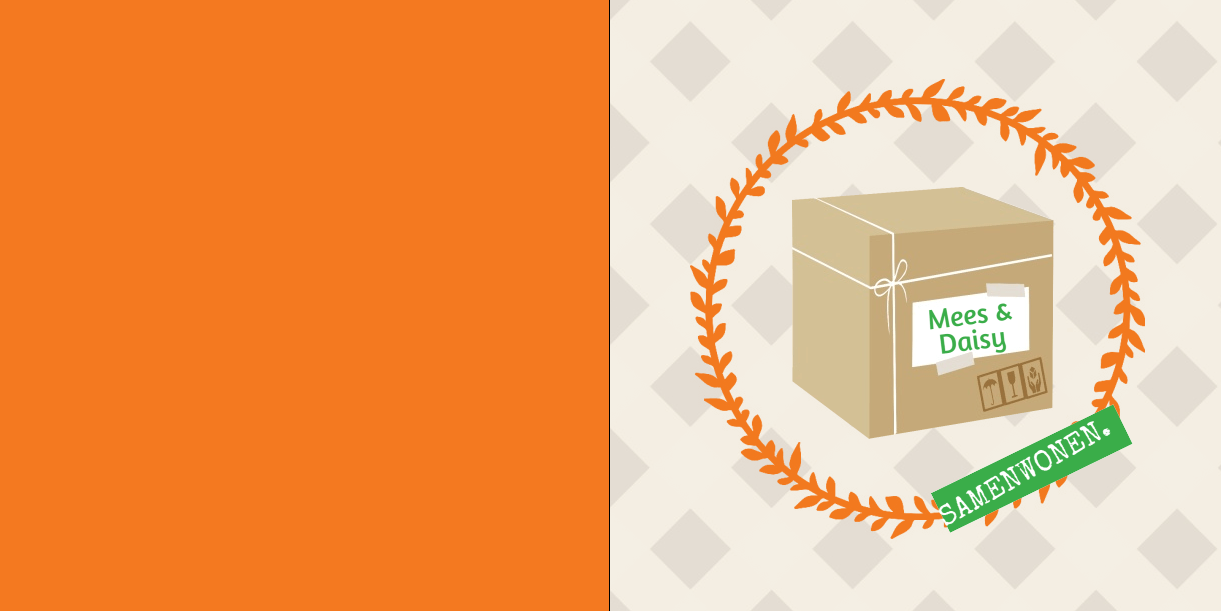 Verhuisdoos in een oranje kransje